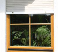 Holzfenster mit innenliegenden Sprossen und Aufsatzrollladen