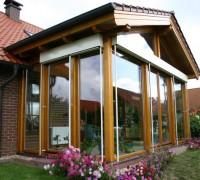 Wintergarten, Holzart Kiefer, Lasur, Dacheindeckung Ziegel, Salzatal