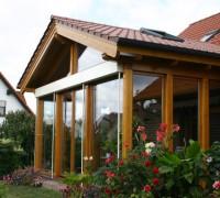 Wintergarten, Holzart Kiefer, Lasur, Dacheindeckung Ziegel
